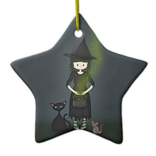 Venu67Hol Whimsical Little Witch Girl with Cat and Mouse Ceramic Ornament Star Shape ()