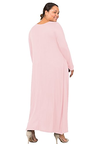 Love In D6190C-PX Long Sleeve Round Neck Flared Maxi Dress W/Pocket Blush 3X by Love In (Image #9)