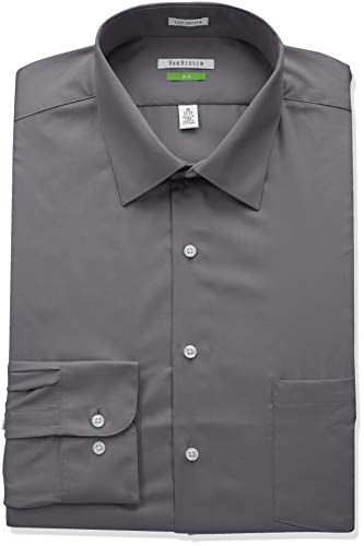 Van Heusen Men's Big and Tall Lux Sateen Fit Spread Collar Dress Shirt, Grey, 18