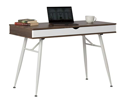 Calico Designs 51253 Alcove Modern Desk with Large Split Drawer Storage, White/Chestnut