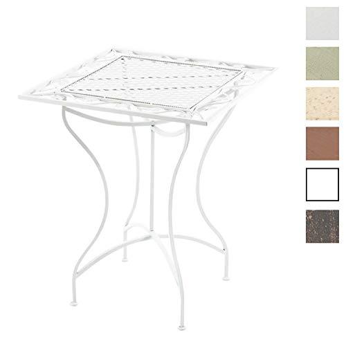 CLP Mesa de Jardin Asina en Hierro Forjado I Mesa Cuadrada con Altura de 72 cm I Mesa en Estilo Rustico I Color: Blanco
