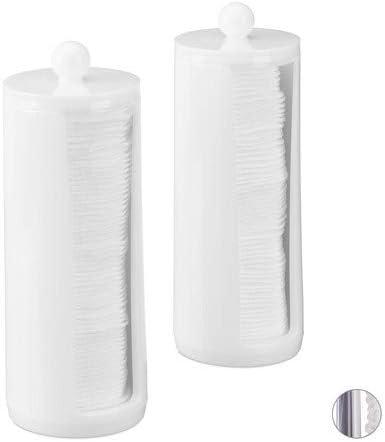 Relaxdays, Blanco, 20 x 7 cm Pack de 2 Dispensadores Algodón con ...