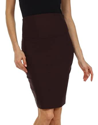 LS7831 - Knee Length High Waist Stretch Pencil Skirt ( Various Colors & Sizes ) - Brown/Small