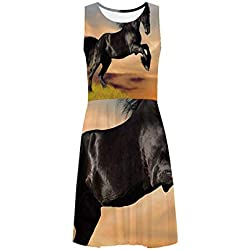 Horse Decor Classical Sleeveless Ice Skater Dress,for Women,XS-3XL