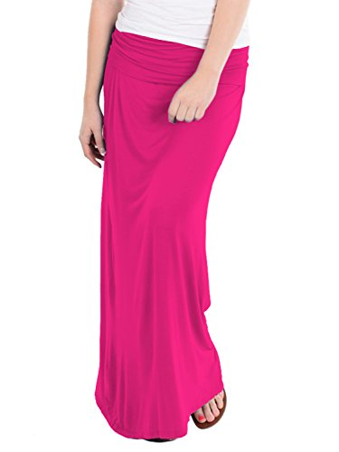 (Women's Versatile Maxi Skirt/Convertible KSK3097 Fuchsia S)