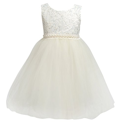 Flower Baby Girl Lace Dress - Kids Princess Pageant Party Wedding Dresses  Cream -