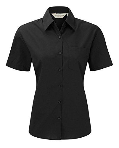 Russell Collection camiseta de manga corta para fácil cuidado camisa de popelín blusa negro