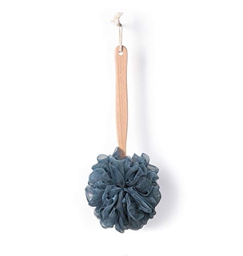 Bath Sponge & Brush Long Handled Loofah Back Scrubber Shower & Bath Exfoliating Pouf Scrubber on a Stick Body Back Brush with a Wood Handle Loofah Mesh for Men & Women By Krramel (Navy Blue)