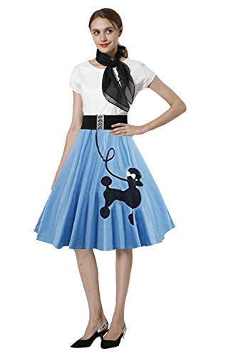 Paniclub Poodle Skirt 1950s Women Vintage Cocktail Dress Poodle Dress with Scarf -