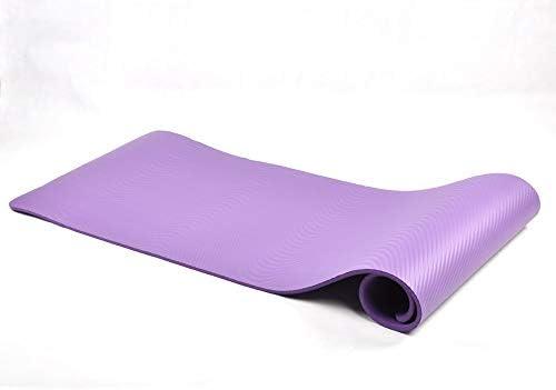 Yoga mat ピラティス、フロアマット200センチメートル130センチメートル2センチメートル環境に優しいノンスリップヨガプラティフロア(バッグ、ベルトを運ぶ)を持つすべてのヨガマットヨガマット20ミリメートル超太い高密度段ボールパッド workout (色 : Purple)