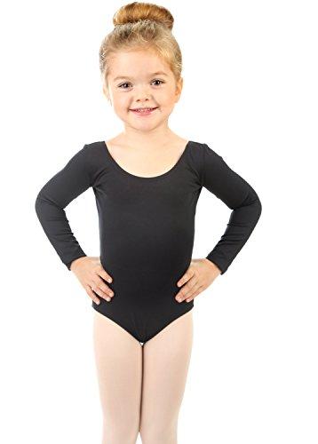 Elowel Girls' Team Basics Long Sleeve Leotard Black (size2-4)