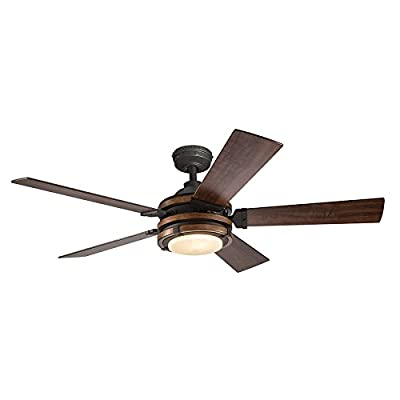 Barrington 52-in Distressed Black and Wood Downrod or Close Mount Indoor Ceiling Fan with Light Kit and Remote