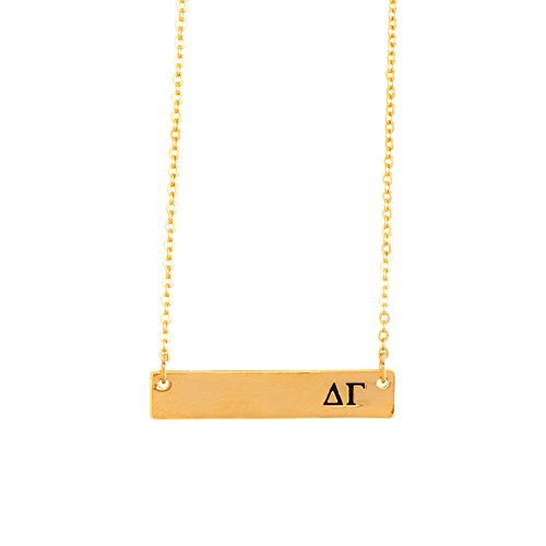 Delta Gamma 24K Gold Plated Horizontal Bar Necklace Greek Sorority Letter with Adjustable Chain DG