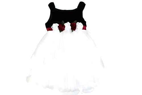Biscotti Girl's Floral Strappy Layered Chiffon Special Occasion Dress (10, Red/Black/White) ()