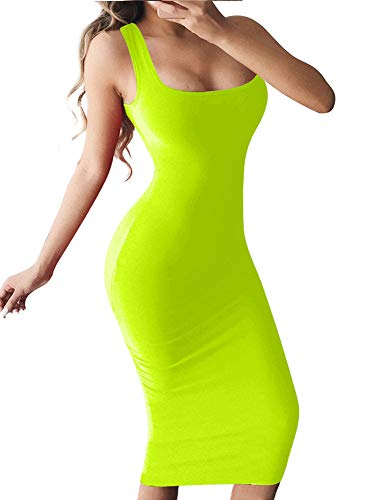 BEAGIMEG Women's Basic Tank Bodycon Sleeveless Solid Casual Long Dress Flugreen