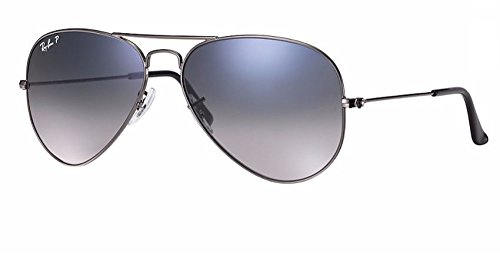 Ray Ban RB3025 004/78 58M Gunmetal/ Polarized Blue Gradient Gray - Rayban Case Aviator