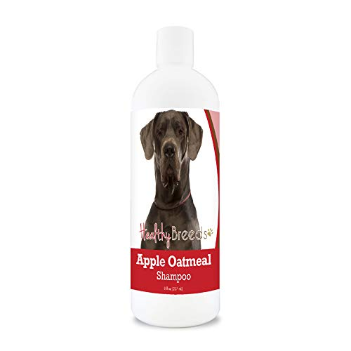 Healthy Breeds Apple Oatmeal Shampoo Spray that moisturizes and the anti inflammatory properties hydrate cool and soothe damage coat and skin.  Relief from dry skin flea bites 8oz