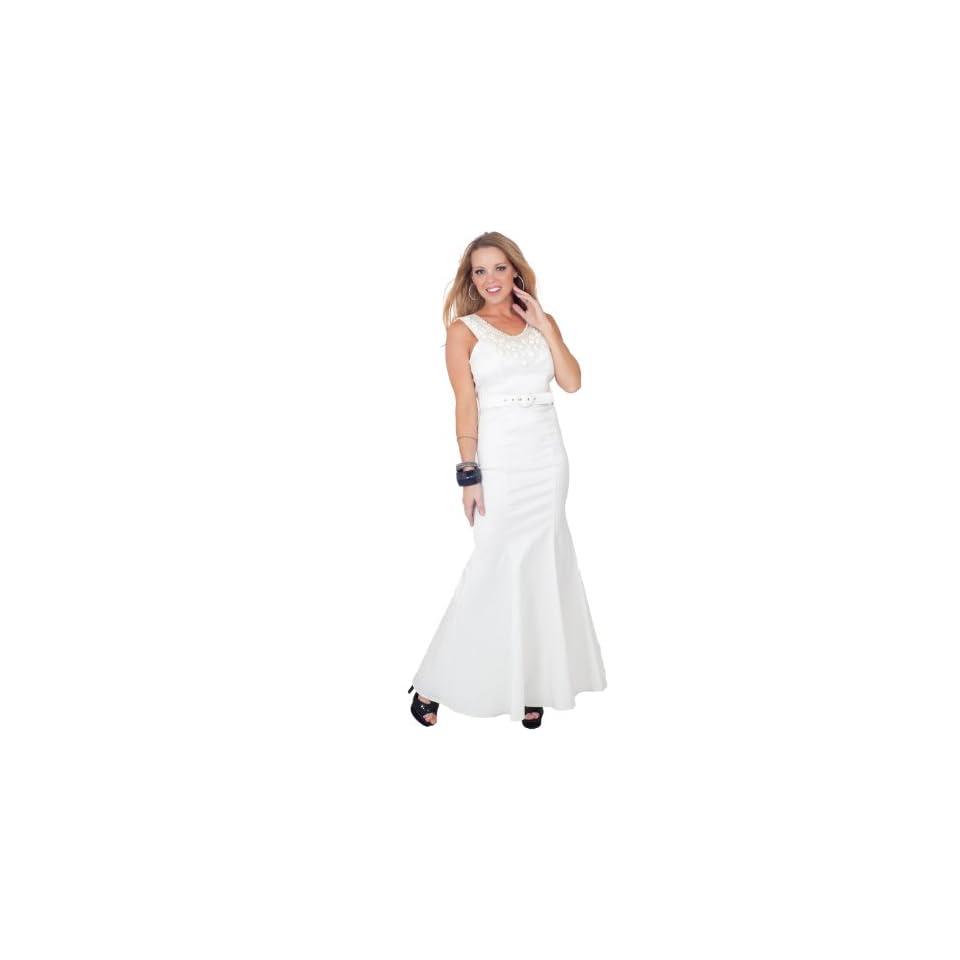 Sleeveless Scoop Neck Embellished Belted Full Length Elegant Formal Dress S M L