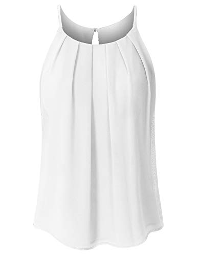 JSCEND Women's Round Neck Pleated Double Layered Chiffon Cami Tank Top A-Ivory S