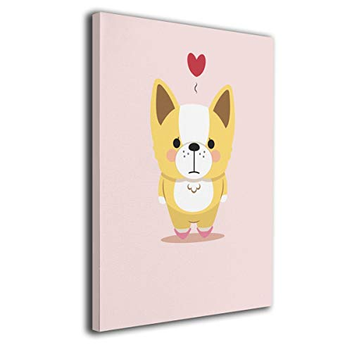 Little Monster Corgi Stretched Oil Paintings On Canvas Wall Decorations Funny Art for Child Bedroom