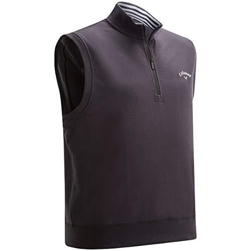 Callaway Golf 2019 Mens French Terry 1/4 Zip Fleece Sleeveless Jumper Golf Vest Caviar Large (Vest Cotton Golf)
