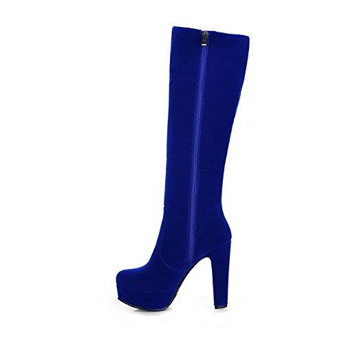 AllhqFashion Damen Rein Rund Zehe Nubukleder Reißverschluss Stiefel mit Metallisch Blau