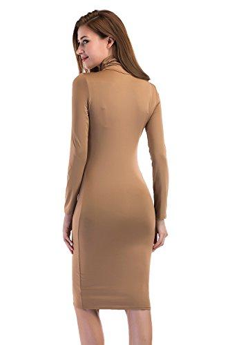 Dress Midi Long Women Bodycon Dress DONWORD Party for Sleeves Club Long Turtleneck Dress Black Slim Pencil 4UTqW6Wn
