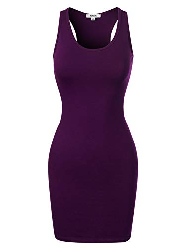 (MixMatchy Women's Fitted Sleeveless Sexy Body-Con Racer-Back Round Neck Mini Dress Dark Purple XL)