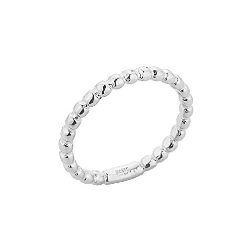 Dainty Sterling Silver Mid Finger Beaded Knuckle Ring, Size (Contemporary Sterling Silver Rings)