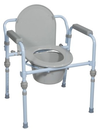 Drive Medical Folding Bedside Commode Seat with Commode Bucket and Splash Guard, Powder Blue by Drive Medical
