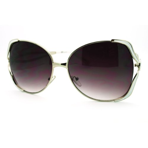 (Womens Sunglasses Designer Fashion Oversized Butterfly Frame Silver White)