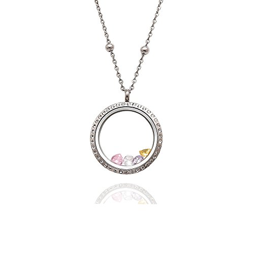 EVERLEAD 316L Stainless Steel Floating Charm Locket Living Memory Locket Pendant with Czech Crystals -