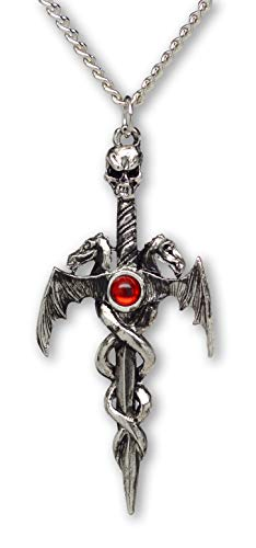 Finish Pewter Dragon - Real Metal Gothic Skull On Sword with Dragons Silver Finish Pewter Pendant On 20 Inch Neck Chain
