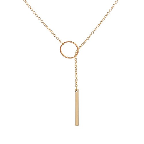 Lariat Bar (Simple Circle with Bar Y Necklace,Dainty Minimalist Circle Bar Lariat Necklace for Women Girls (Gold))