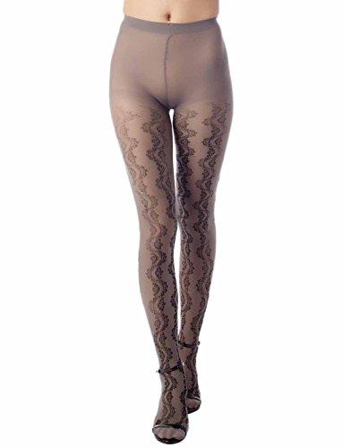 iB-iP Women's wavy Snowflake prints seamless Mid Waist Sheers Tights Pantyhose, Size: M-L, Grey