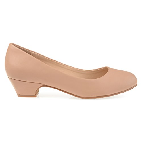 Brinley Co Mujeres Soren Classic Faux Leather Comfort-sole Heels Nude
