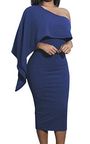 Les Femmes Domple Ruffle Solide Style Une Robe Moulante Cocktail Midi Épaule Bleu Royal