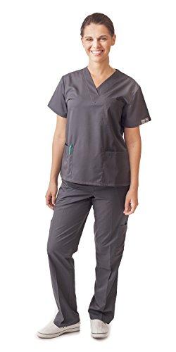 (Dress A Med Women's Classic Scrubs Set Gun Metal 2XL)