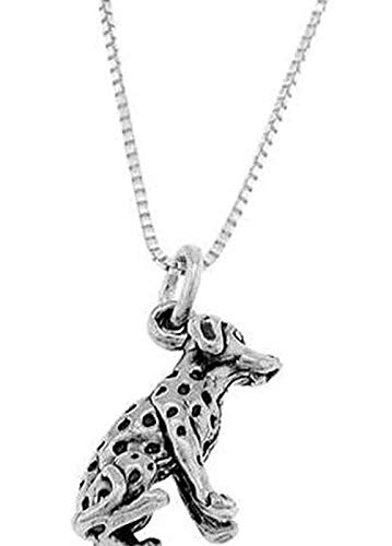 Sterling Silver Dalmatian Dog Charm with Box Chain Necklace Vintage Crafting Pendant Jewelry Making Supplies - DIY for Necklace Bracelet Accessories by CharmingSS