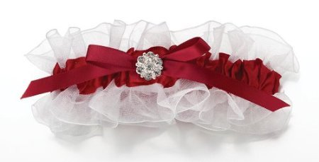 picture of Red Satin Garter W/Rhinestone