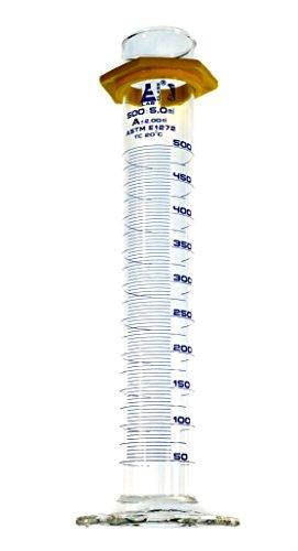 500mL Graduated Cylinder- ASTM E1272 standard - Class A - Borosilicate Glass - Eisco Labs - 5ml Blue Graduations w/Protective Guard
