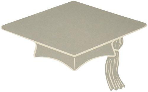 Mini Grad Cap Cutouts (silver)    - Out Cut Cap Grad