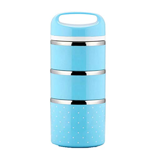 Multi-Layer Lunch Box,Leak-Proof Portable Thermal Lunch Box Stainless Steel Bento Box Picnic Container (Large, Light Blue)]()