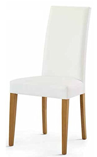 Montefioredesign - Set 2 sedie In Ecopelle Bianca E Legno Di Abete ...