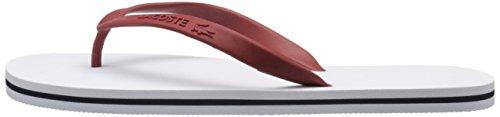 Lacoste Women's Ancelle Slide 116 2 Flip Flop, White/Dark Red, 8 M US