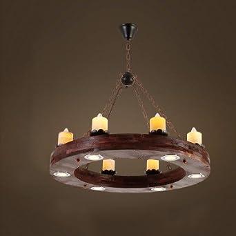 GroBartig 6 Köpfe Industrie Loft Stil Landschaft Vintage Holz Kronleuchter Lampe Für  Foyer/Kaffee Zimmer/