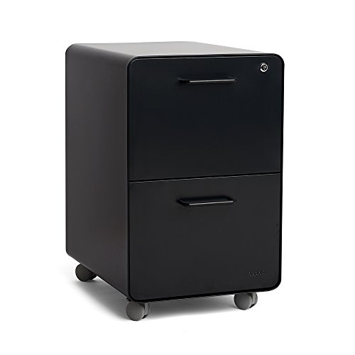 Poppin Black Stow Rolling 2-Drawer File Cabinet, Metal, Legal/Letter (2 Drawer Modern Cabinet)