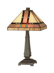 Dale Tiffany TT10090 Mission Table Lamp, Mica Bronze and Art Glass Shade - Fine Art Lamps Bronze Table Lamp