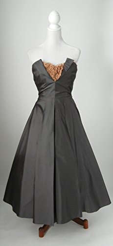 1950s Vintage Style Strapless Silk Party Dress by Adley & Company
