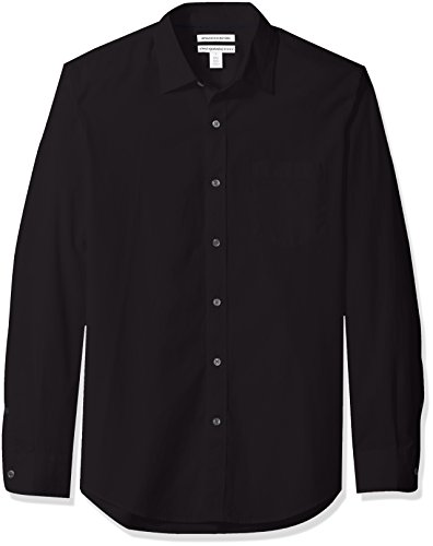 Amazon Essentials Men's Slim-Fit Long-Sleeve Solid Casual Poplin Shirt, Black, XX-Large (Best Mens Shirts Untucked)